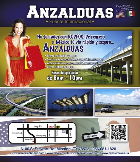 Example of Anzalduas International Bridge ad design.